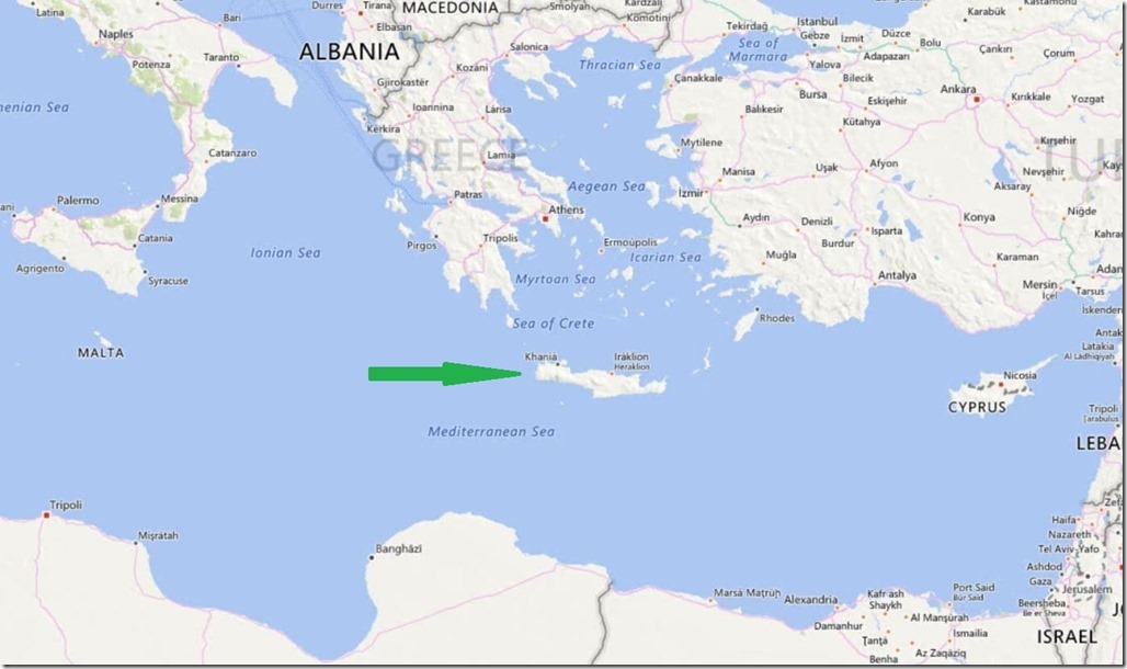 Crete Island MAP arrow